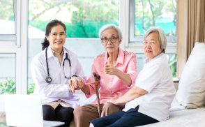 two senior women consulting to the female doctor